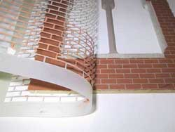 Remove brick stencil to reveal Dolls house brick wall effect