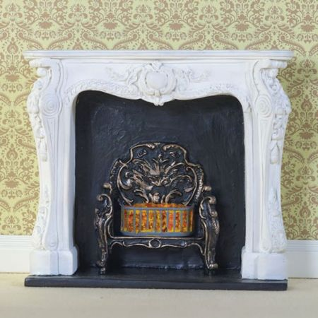 White Rococo Style Fireplace