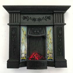 Dolls House Fireplace with Glowing Fire - Black