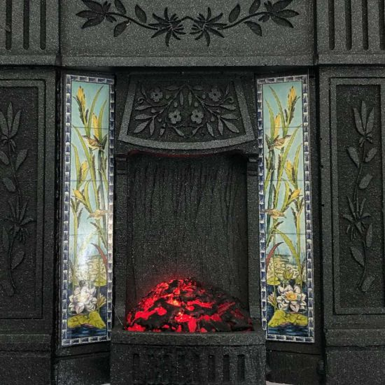 Dolls House Fireplace with Glowing Fire - Black #2