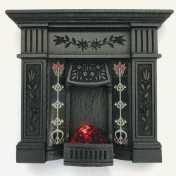 Dolls House Fireplace with Glowing Fire - Grey