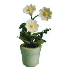 Pot Plant for Dolls House - White