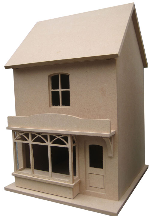 Dhw58 small victorian style dolls house shop unpainted for Victorian style kit homes