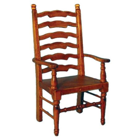 Ladderback Carver Chair with Oak Finish