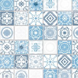 Embossed Antique Azure Mediterranean Tile Sheet