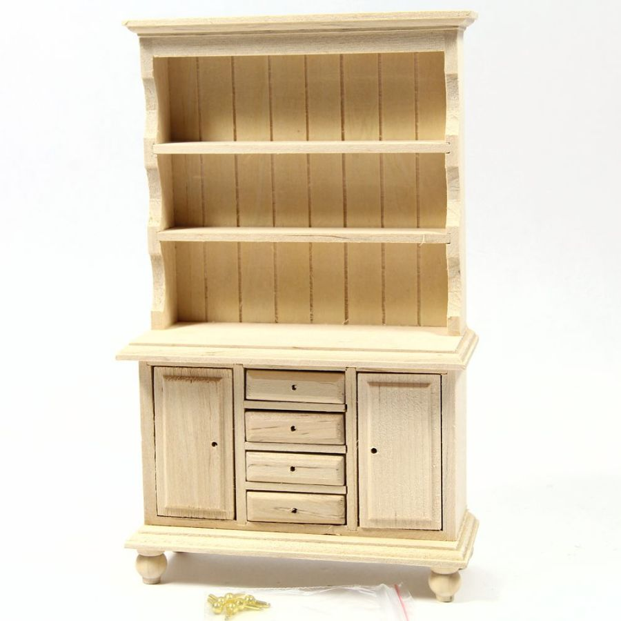 Dark Wood Welsh Dresser: Welsh Dresser - 1:12 Scale - Plain Wood (BEF063)
