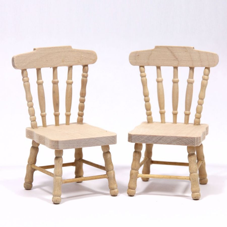 set of 2 dolls house kitchen chairs plain wood natural wood