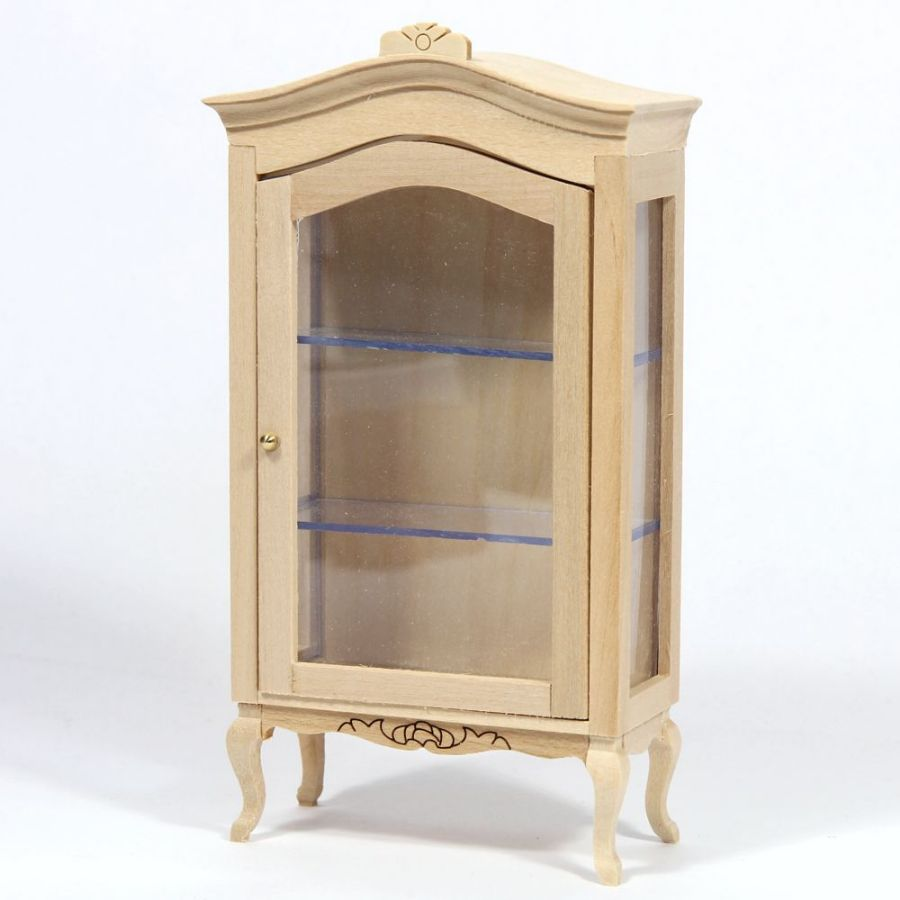 Dolls House Plain Wood Display Cabinet. Hover To Zoom