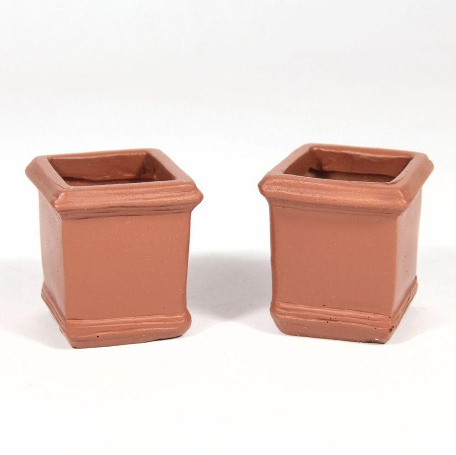 Large Square Terracotta Pots X2 D2133