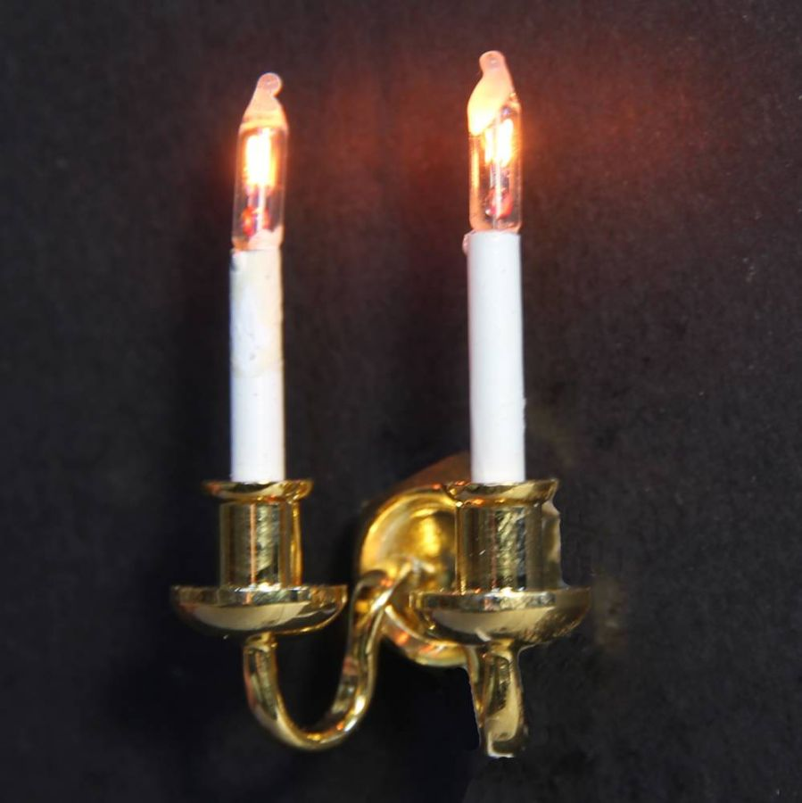 Double Candle Wall Light for Dolls House, Wired Lights, DE090 from Bromley Craft Products Ltd.