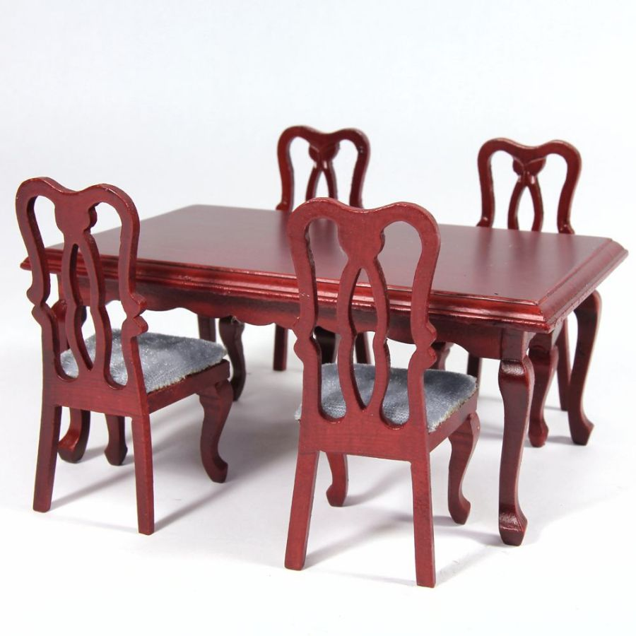 Dolls House Rectangle Dining Table 4 Chairs Df102 Bromley Craft