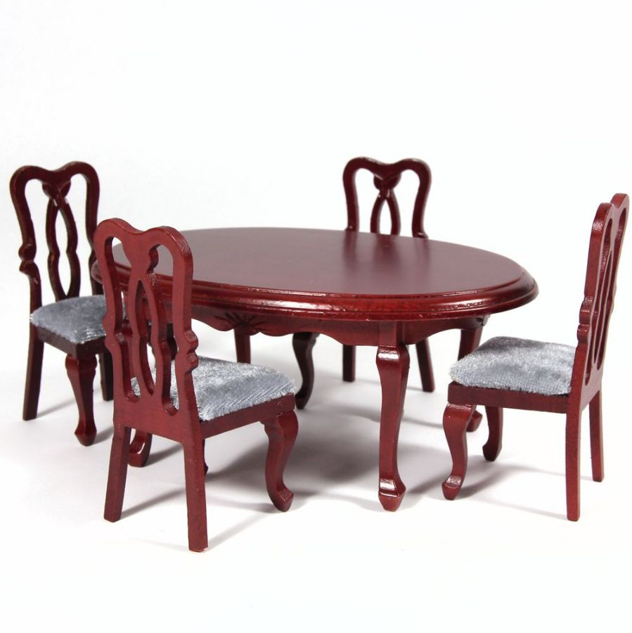 Oval Dining Table & 4 Chairs - Mahogany Finish (DF103 ...