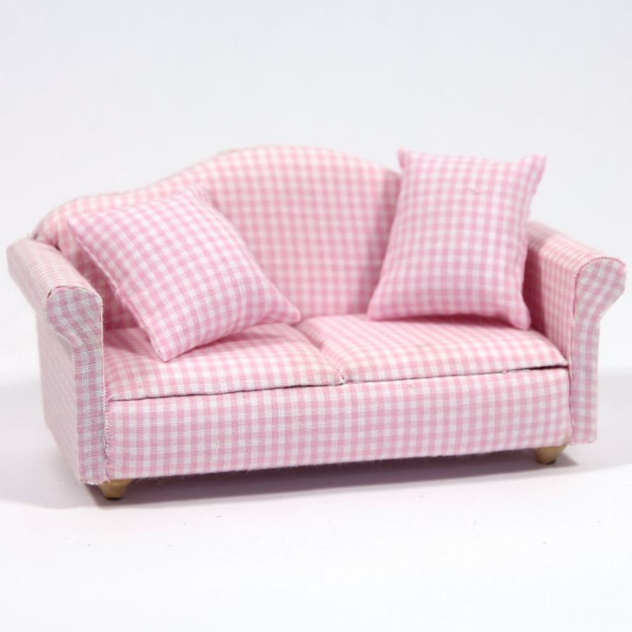 Modern Pink Gingham Pattern Sofa Df1162