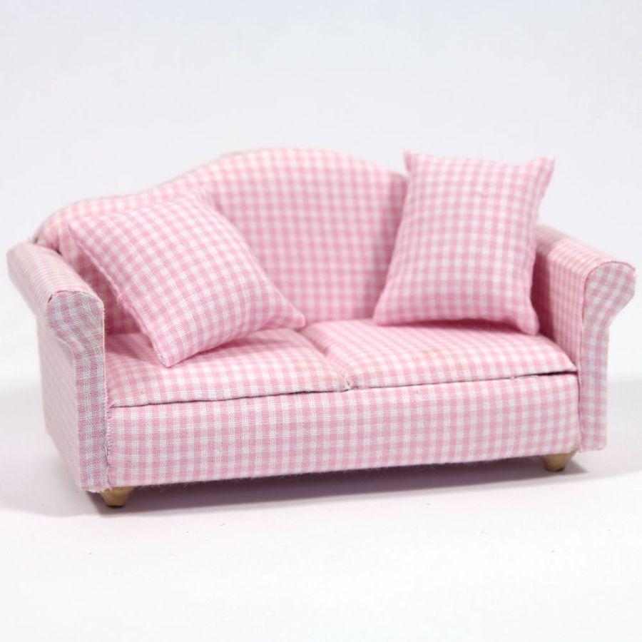 Modern Pink Gingham Pattern Sofa Df1162