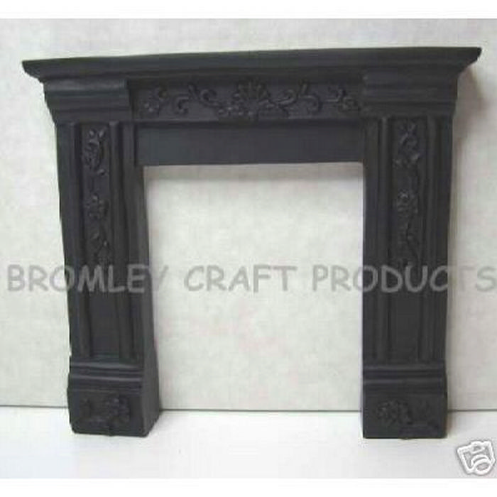 Black Dolls House Fireplace With Ornate Detail Df620b