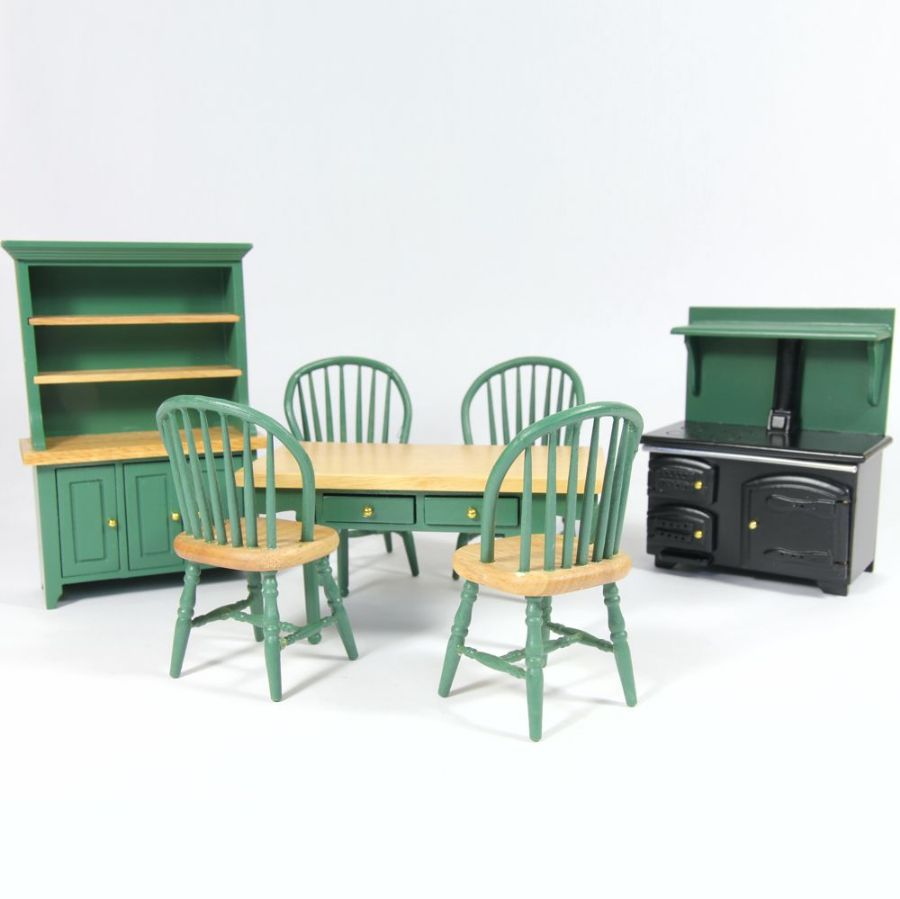 Green Painted Dolls House Kitchen Set, DF897