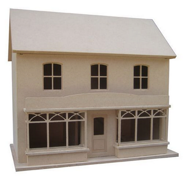 Double Fronted Dolls House Shop   Unpainted Kit (1:24 Scale). Hover To Zoom