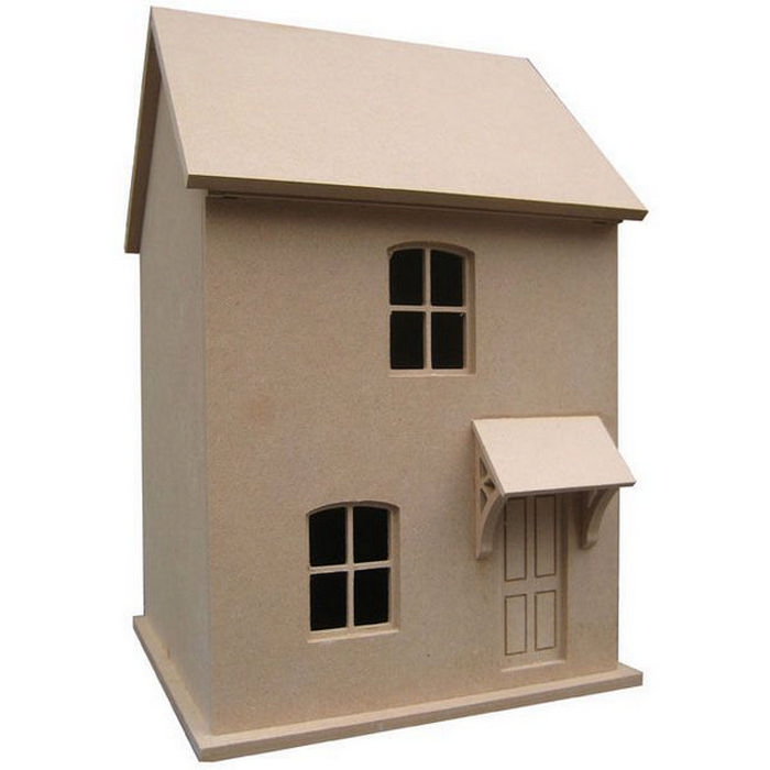 Small victorian style dolls house unpainted kit 1 24 for Victorian style kit homes