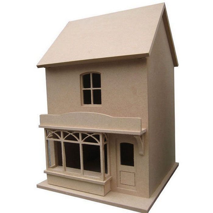 Small victorian style dolls house shop unpainted kit 1 for Victorian style kit homes