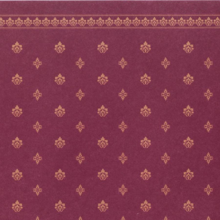 Garden Crest Dolls House Wallpaper - Red, DIY076D