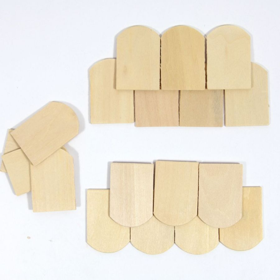 Wooden Roof Tiles Curved X100 1 12 Scale Diy208