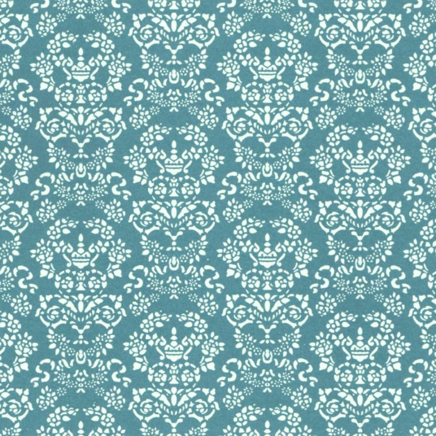 Renaissance Dolls House Wallpaper - White on Blue, Wallpaper ...