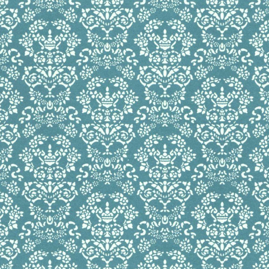 Renaissance Dolls House Wallpaper White On Blue Diy279wb