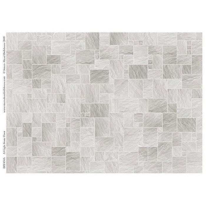 Light stone floor tile sheet for 1 12 scale dolls house for Printable flooring