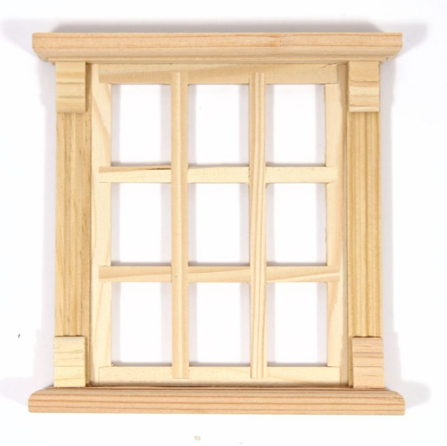 Unpainted 9 Pane Wooden Window Frame