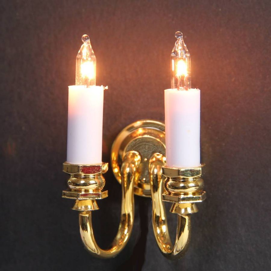 Double Candle Wall Lights : Double Wall Candle Light for Dolls House (LT2002), Wired Lights, EL11 from Bromley Craft ...
