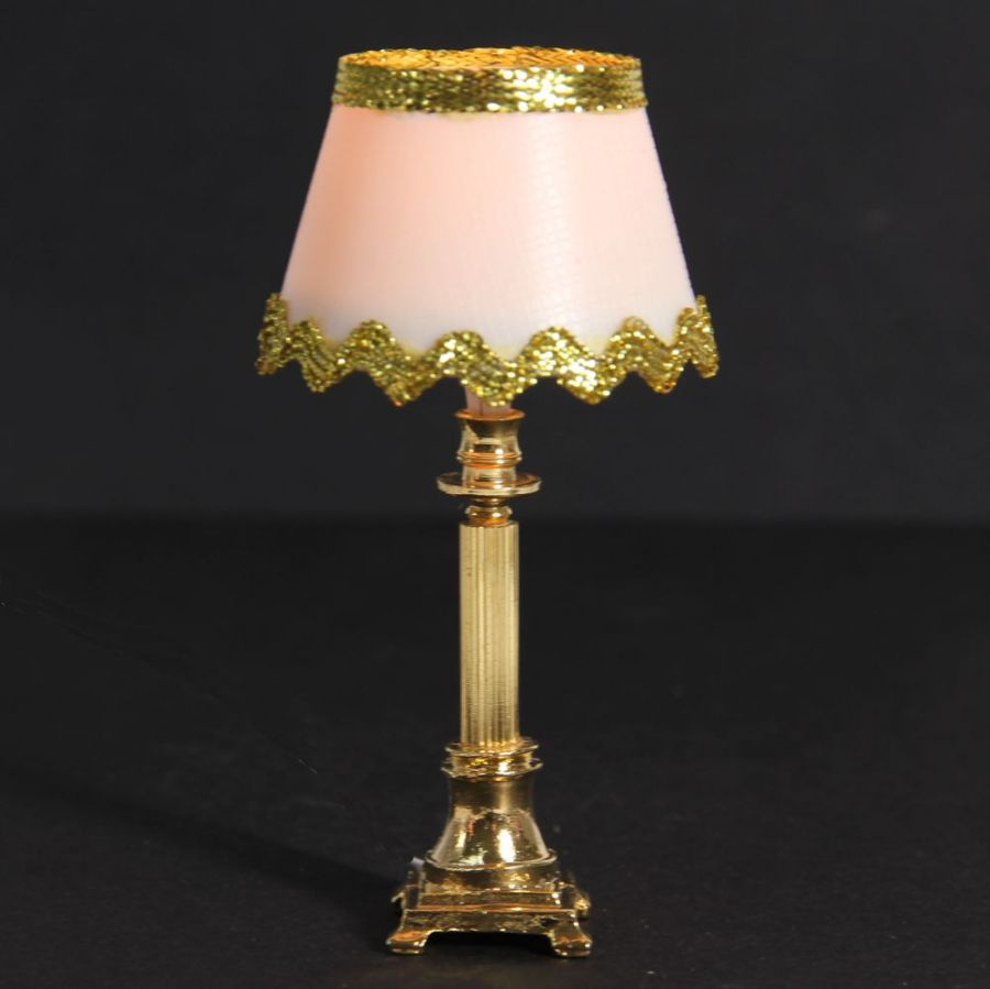 Tall Dolls House Table Lamp With Gold Trim Lt1105a