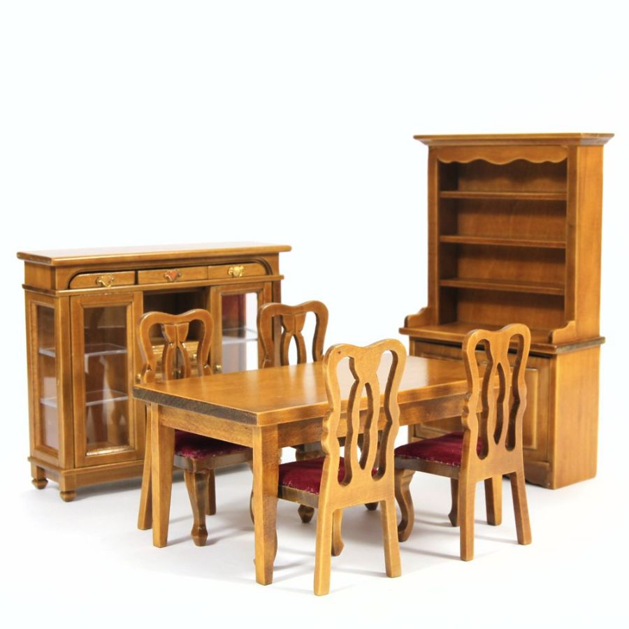 Dining Room Furniture Product: Walnut Dining Room Furniture Set 1:12 (W030)