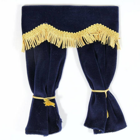 Navy Blue Velvet Curtains with Pelmet