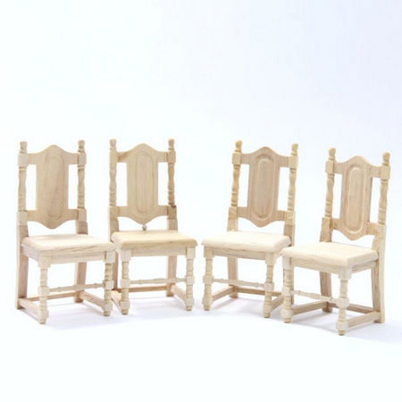 Set of 4 Dolls House Dining Chairs  - Plain Wood