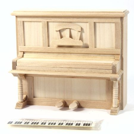 Upright Piano - 1:12 Scale - Plain Wood