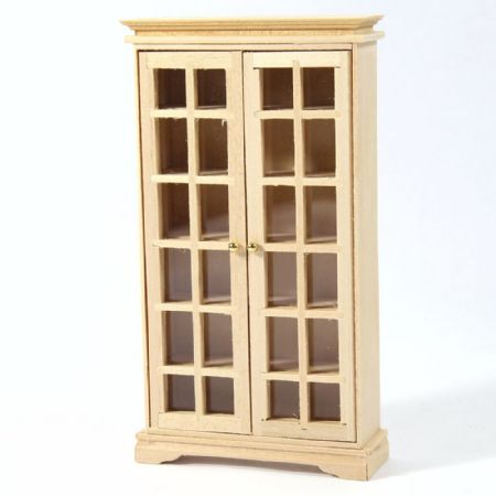 Display Book Cabinet - 1:12 Scale - Plain Wood