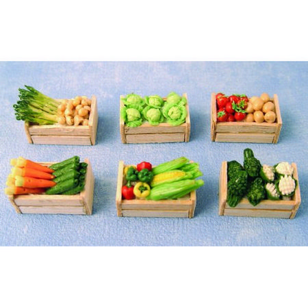Vegetables in Wooden Crates x6 Assorted