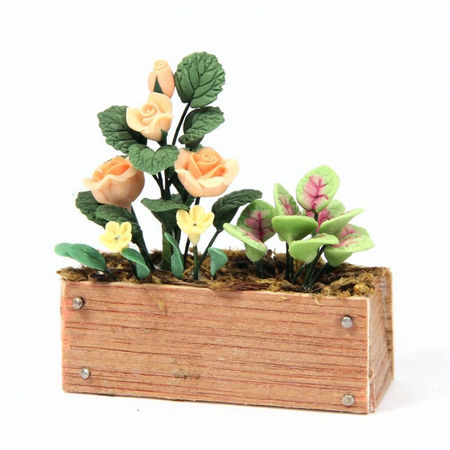Pink / Peach Roses in Wooden Window Box