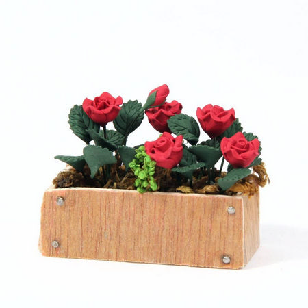 Red Roses in Wooden Window Box for Dolls House