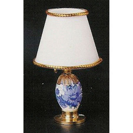Blue & White Dolls House Table Lamp with Shade