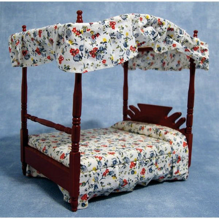 Mahogany Four Poster Bed - 1:12