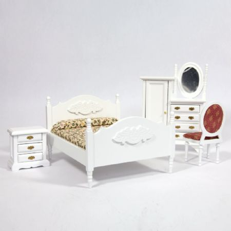 White Dolls House Bedroom Furniture Set