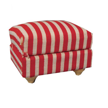 Red & White Stripy Dolls House Footstool