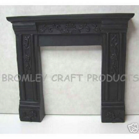Black Dolls House Fireplace with Ornate Detail