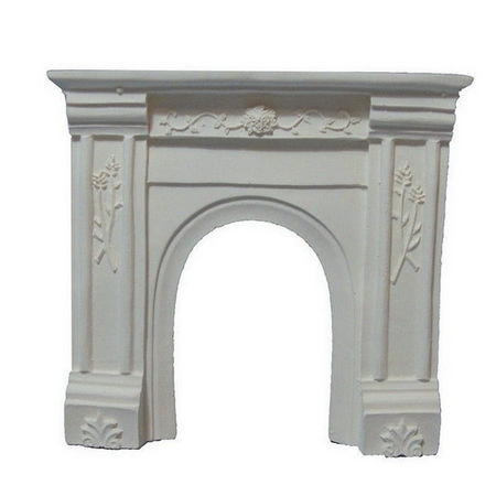 White Fireplace with Decorative Carving