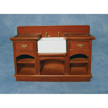 Dolls House Kitchen Sink Unit with Shelves