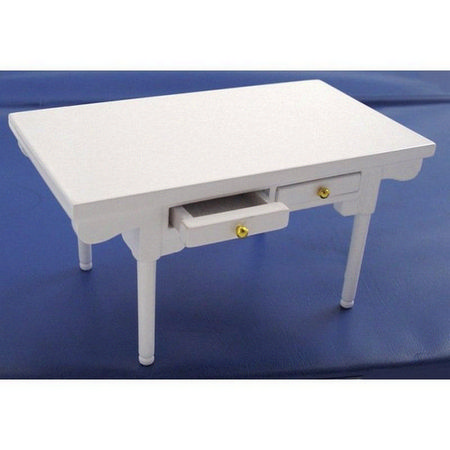 Dolls House White Table With Drawers