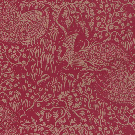 Peacocks Gold on Red Dolls House Wallpaper
