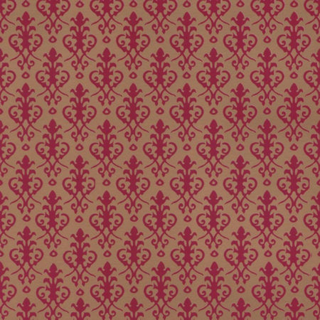 Victorian Dolls House Wallpaper - Red on Gold