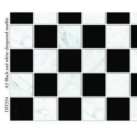Black & White Chequered Marble Tile Sheet